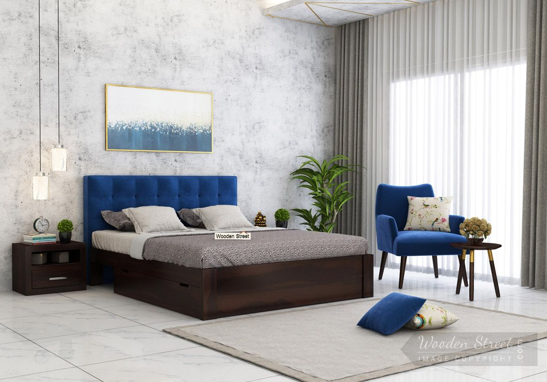 Buy Wagner Upholstered Bed With Side Storage Queen Size Indigo Blue Online In India Wooden Street