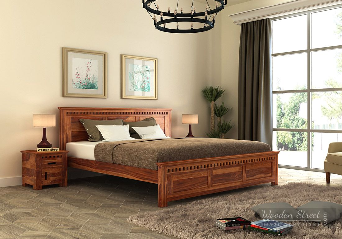adolph bed without storage king size honey finish