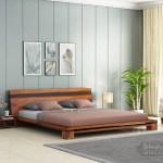 Buy Melisandre Low Floor Double Bed King Size Honey Finish Online In India Wooden Street