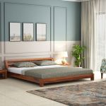 Buy Rico Low Floor Bed Queen Size Honey Finish Online In India Wooden Street