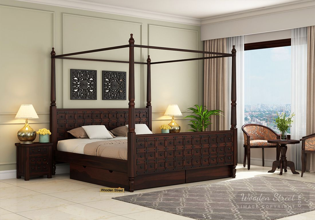 Buy Citadel Poster Bed With Storage Queen Size Walnut Finish Online In India Wooden Street