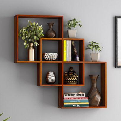 buy wooden wall shelves online in india
