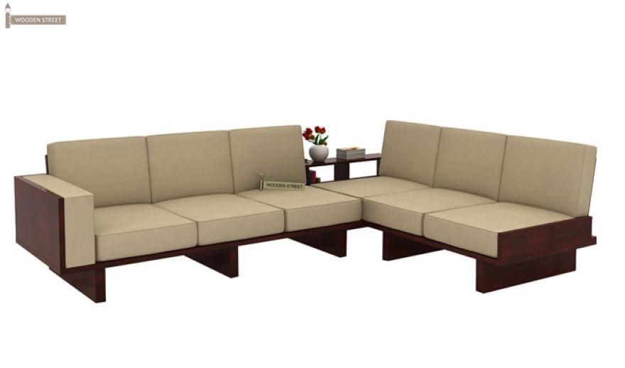 buy audrey 6 seater l shape corner sofa set mahogany finish online in india wooden street
