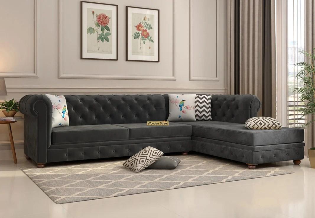 buy henry l shape right aligned corner sofa velvet graphite grey online in india wooden street