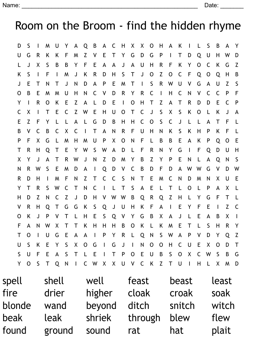 Room On The Broom Find The Hidden Rhyme Word Search Wordmint