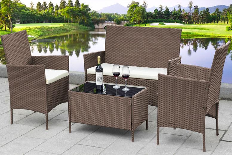 4 piece rattan garden furniture set black grey or brown