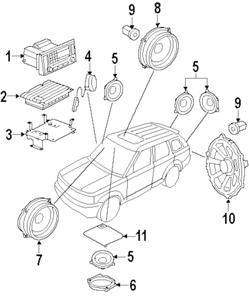 Genuine land rover rear dr speaker ran xqn000130