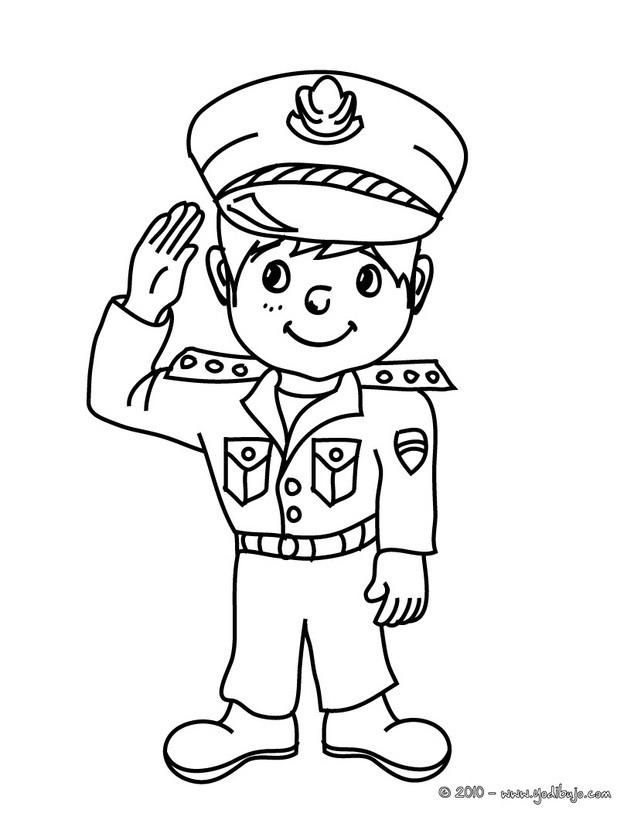 dibujos de disfraces para colorear uniforme policial