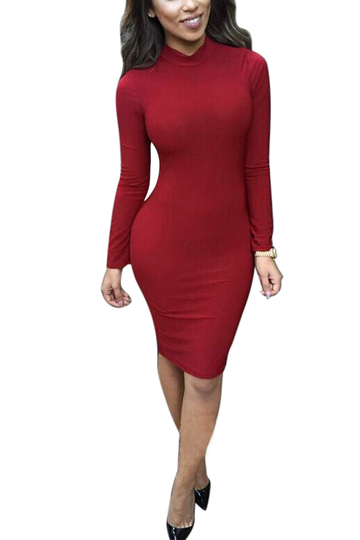 Burgundy Hollow Back Midi Dress with Turtle Neck