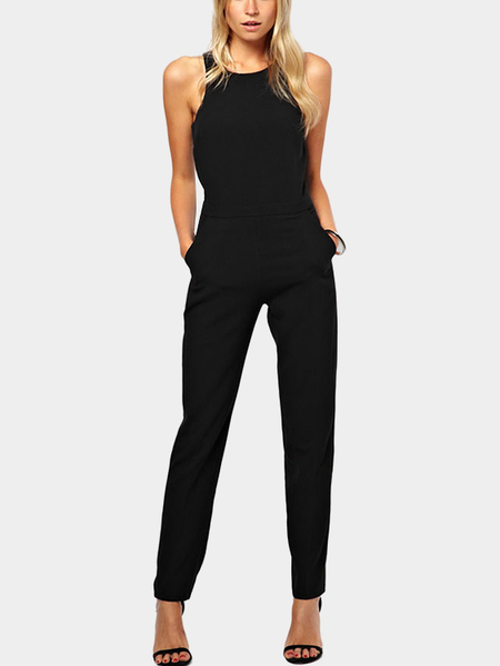 Sleeveless Jumpsuit with Side Pockets