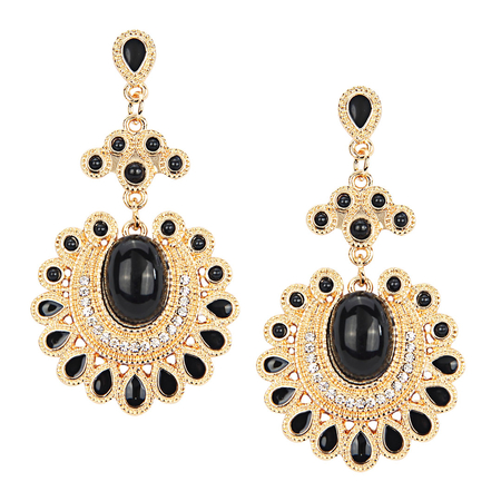 Diamond And Stone Embellishment Drop Earrings - US$3.95