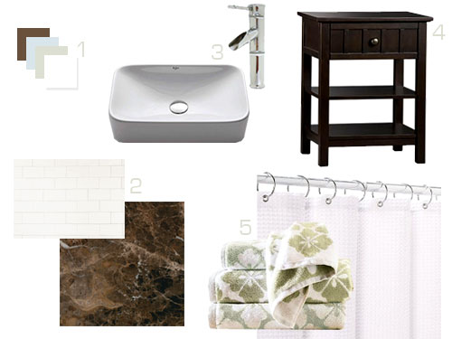 sourcing tile, a vanity, & other bathroom accessories | young