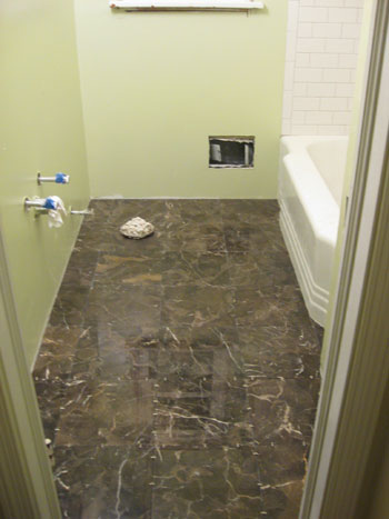 how to grout white subway tile marble