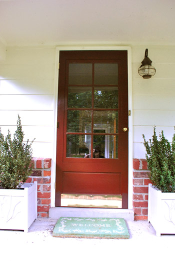 Yup it was an old maroon storm door with three issues 1) the grids didnu0027t match up with the six paneled door behind it 2) it was always jamming ... & How To Paint Your Front Door | Young House Love