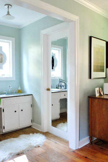 Framing Out A Mirror That\'s Mounted On A Door | Young House Love