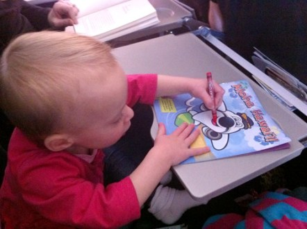 Flying With Toddler Tips   Young House Love flying with toddler coloring on airplane tray