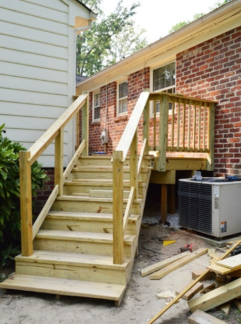 How To Build A Deck It S Done Young House Love | Outdoor Stair Railing Installation | Balcony | Steel | Metal | Patio | Residential