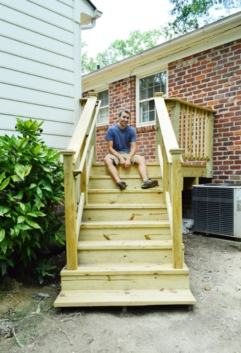 How To Build A Deck It S Done Young House Love   Building Outdoor Steps With Wood   Pea Gravel   Stair Railing   Porch Steps   Composite Decking   Hillside