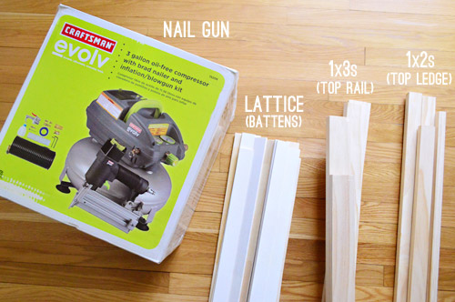 supplies needed to install DIY board and batten molding including nail gun and wood boards and lattice strips