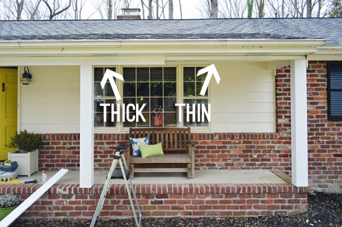 How we boxed out our old curvy porch columns young house love what did take forever caulking there were so many seams but we didnt want to be anything less than thorough since getting rain solutioingenieria Choice Image