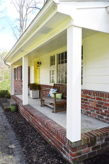 How we boxed out our old curvy porch columns young house love getting rid of well concealing the more ornate and traditional columns just makes our exterior feel crisper and more updated not to mention its much solutioingenieria Image collections