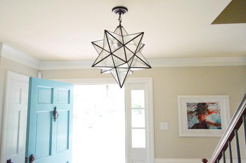 moravian star light in the foyer