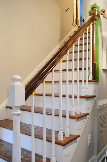 How To Install A Stair Runner Yourself Young House Love | White And Wood Stairs | Non Slip | Foyer | Simple | Solid Wood | Indoor