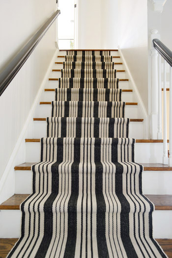 Black And White Stair Runner Installation After Photo Looking Up The Stairs