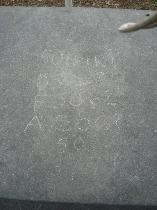 Image of Vandalism (unit numbers scratched in using a stone)