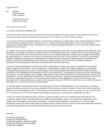 Nexus Letter For Sleep Apnea Veterans