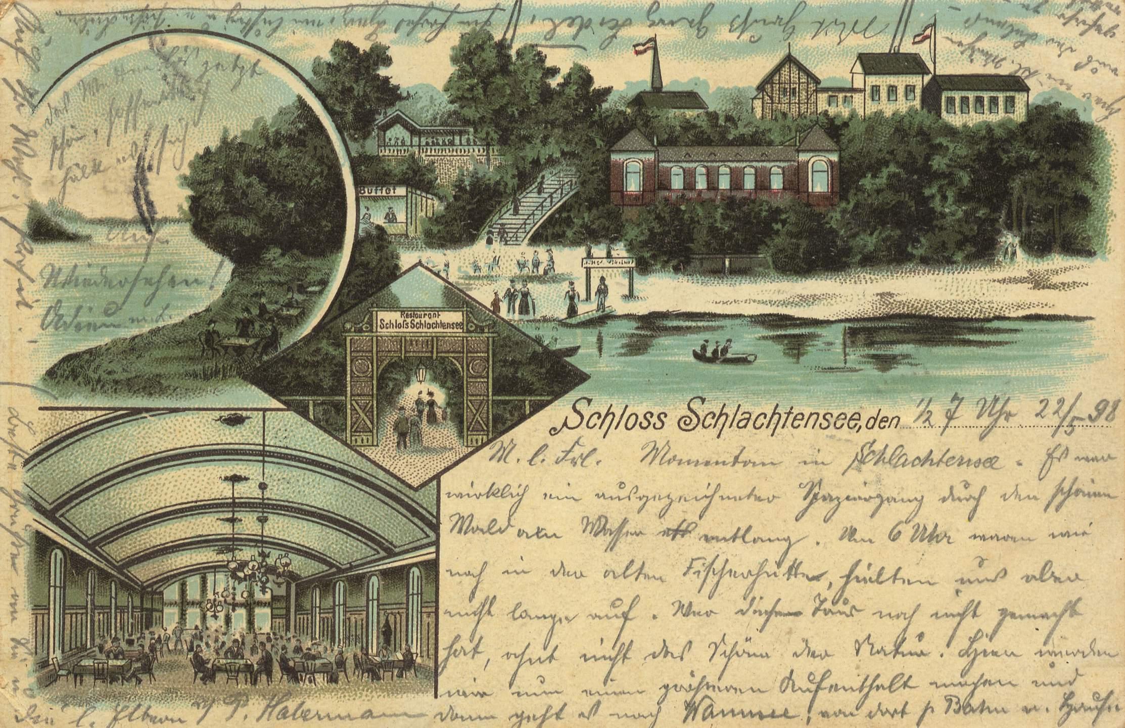 Ansichtskarte vom Schloss Schlachtensee, gelaufen 1898 (Quelle: zeno.org)