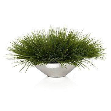 Grass In Silver Pot Indoor Garden Spring Trends