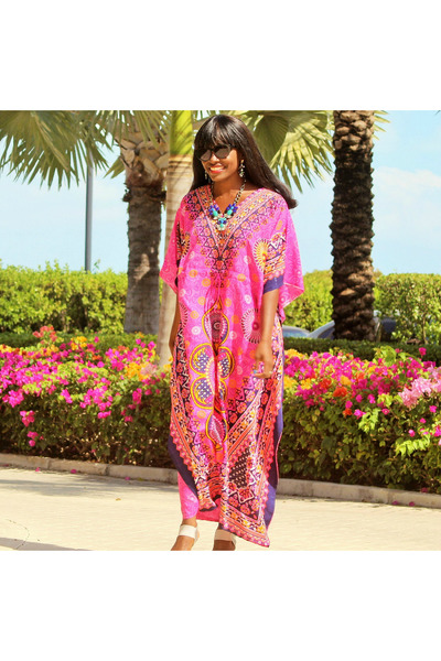 hot pink caftan unknown dress