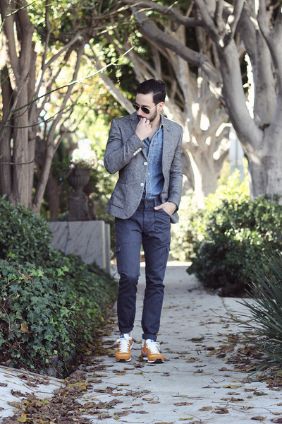 heather gray Topman blazer - navy Levis jeans - sky blue Topman shirt
