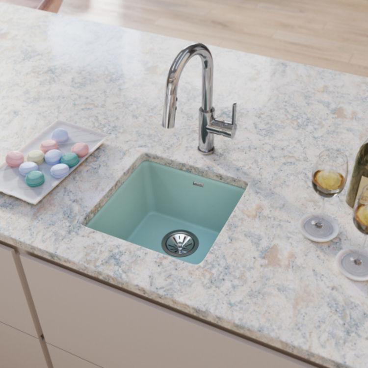 elkay elx1616mt0 quartz luxe single bowl dual mount bar sink mint creme