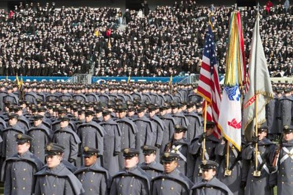 The Cadets of Army march onto the field