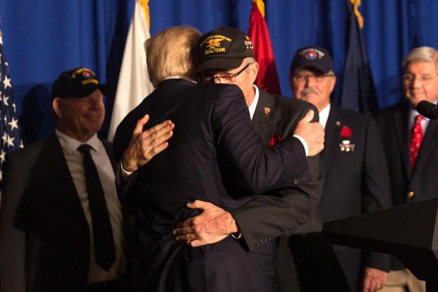 President Donald Trump meets U.S. Vietnam Veterans on November 10, 2017 (White House/D. Myles Cullen)