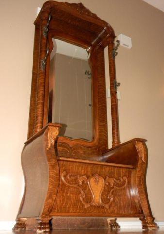 Antique Ornate Walnut Entryway Beveled Mirrored Hall Tree