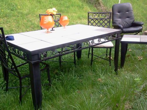 Beautiful Large Cast Iron Table 4 High Back Chairs Ampend