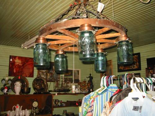 Blue Mason Jar Wagon Wheel Chandelier