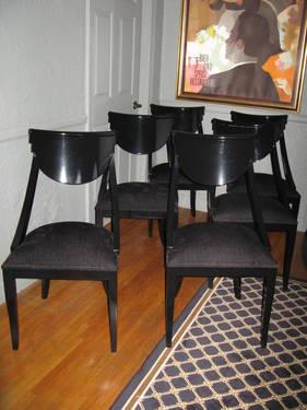 DINING CHAIRS BLACK LACQUER VINTAGE EPOS BY PIETRO COSTANTINI ITALY For Sale In Los Angeles