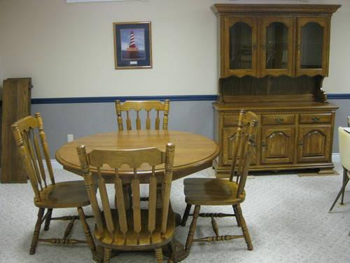 Dining Room Table4 Chairs Amp Hutch Solid OakKincaid For