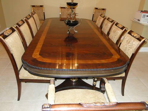 EJ Victor Regency Dining Room Table And 12 Chairs For Sale