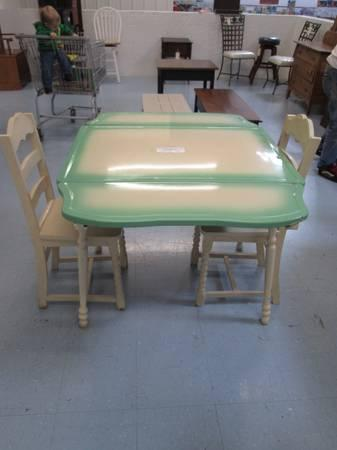 Enamel Top Kitchen Table Amp Two Wooden Chairs For Sale In