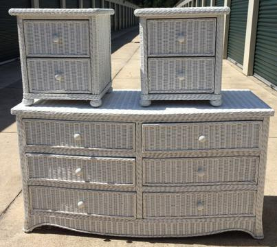 White Wicker Bedroom Furniture Dresser And 2 Nightstands
