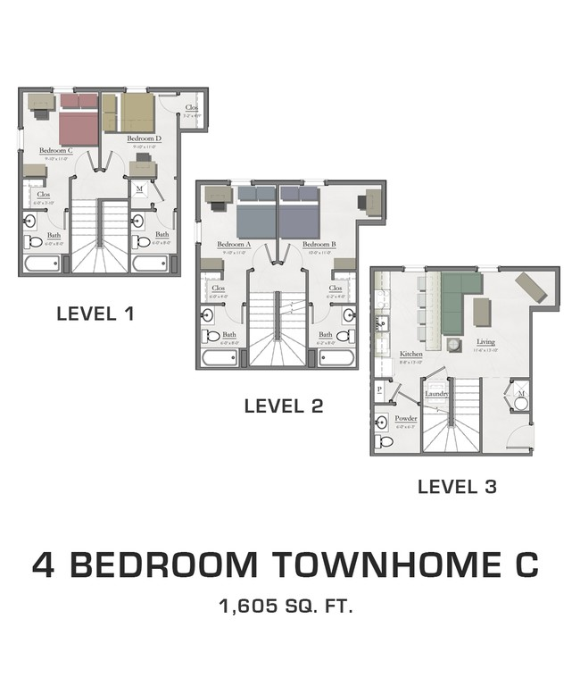 4 Bedroom Townhome C Hannah Lofts Townhomes