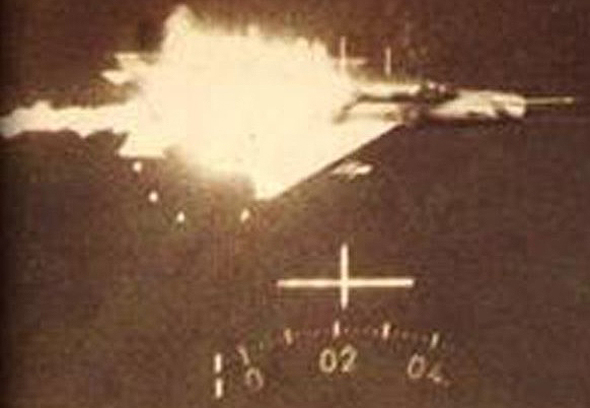 The MiG-21 is destroyed, through the sight of an Israeli plane