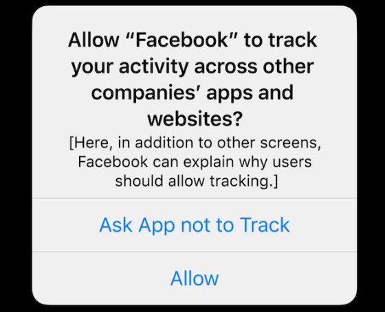 Alert on Apple devices on Facebook tracking
