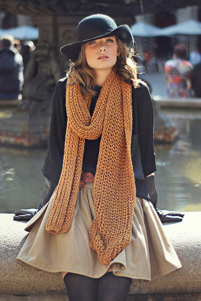 black blouse - hat - chunky knit scarf - neutral skirt - stockings