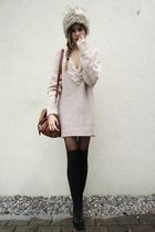 black tights - black shoes - gray fur hat - sweater - brown bag - black socks